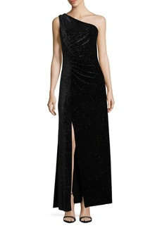 Calvin Klein One-Shoulder Sparkling Velvet Gown