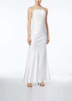 Calvin Klein Open-Back Satin Gown