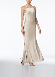 Calvin Klein Open-Back Satin Gown