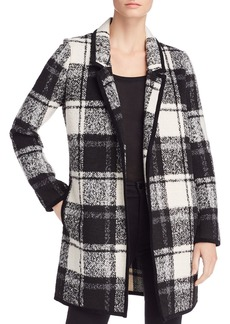 Calvin Klein Open-Front Plaid Coat