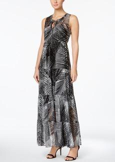 Calvin Klein Palm-Print Tiered Maxi Dress