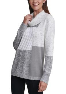 Calvin Klein Patchwork Cowl-Neck Sweater
