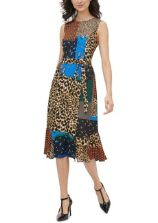 Calvin Klein Patchwork-Print Belted Dress
