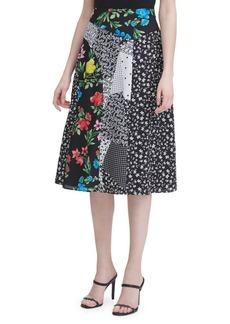 Calvin Klein Patchwork Printed Midi Skirt