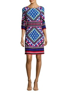 Calvin Klein Patterned Boatneck Dress