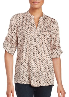 CALVIN KLEIN Patterned Roll-Tab Blouse
