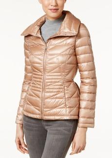 Calvin Klein Peplum Cinched-Waist Packable Puffer Coat