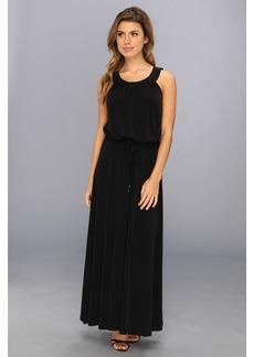 Calvin Klein Perforated Pu Matte Jersey Maxi Dress