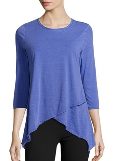 Calvin Klein Performance Asymmetric Hem Cotton-Blend Top
