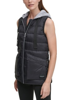 Calvin Klein Performance Cargo Pocket Hooded Puffer Vest