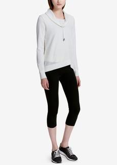 Calvin Klein Performance Cotton Cowl-Neck Crossover Hem Fleece Top