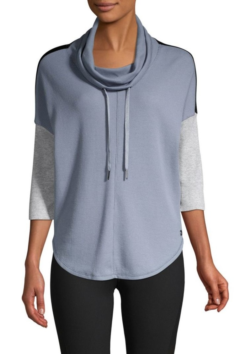 Calvin Klein Performance Cowl-Neck Waffle-Knit Top