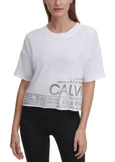 Calvin Klein Performance Cropped Raw-Hem Logo T-Shirt