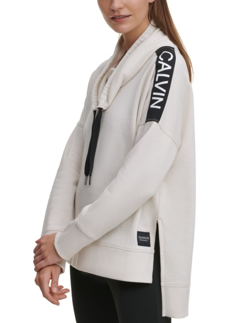 Calvin Klein Performance Drop-Hem Cowlneck Fleece Top