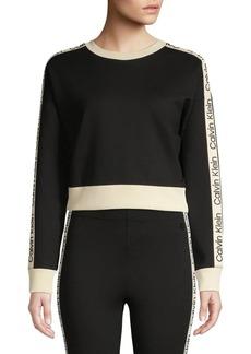 Calvin Klein Performance Dropped-Shoulder Cropped Sweatshirt