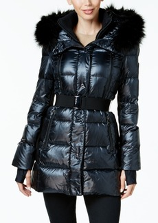 Calvin Klein Performance Faux-Fur-Trimmed Belted Puffer Coat