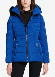 Calvin Klein Performance Faux-Fur-Trimmed Hooded Puffer Coat