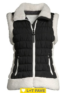 Calvin Klein Performance Faux Shearling Trim Quilted Vest