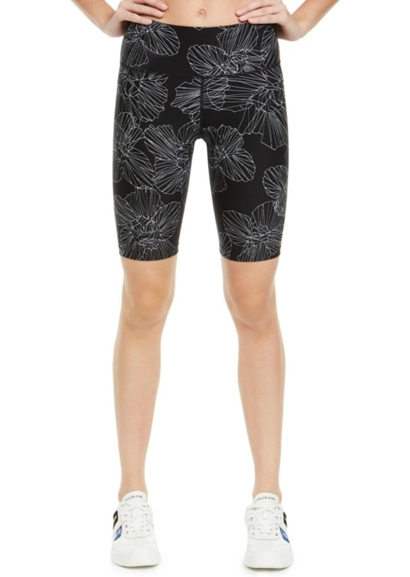 Calvin Klein Performance Floral-Print High-Waist Bike Shorts