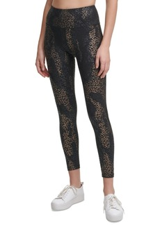Calvin Klein Performance Foil-Print Side-Pocket 7/8 Leggings