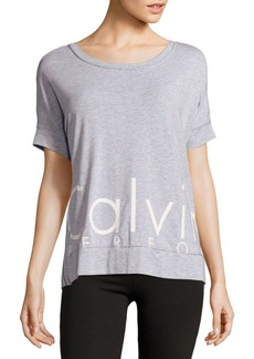 Calvin Klein Performance Heathered Cotton-Blend Roundneck Tee