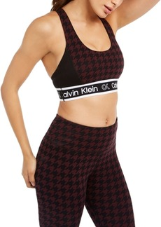 Calvin Klein Performance Houndstooth Cross-Back Medium-Impact Sports Bra