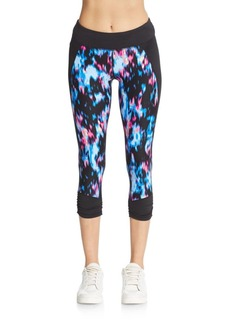 Calvin Klein Performance Impressionist-Print Cropped Leggings