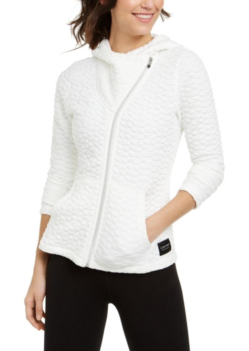 Calvin Klein Performance Jacquard Asymmetrical-Zip Hooded Jacket