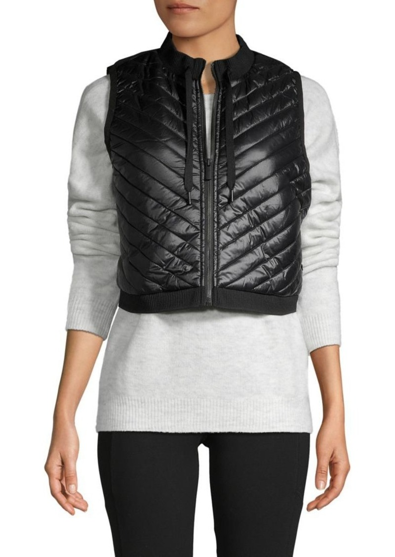 Calvin Klein Performance Leopard-Print Cropped Puffer Vest
