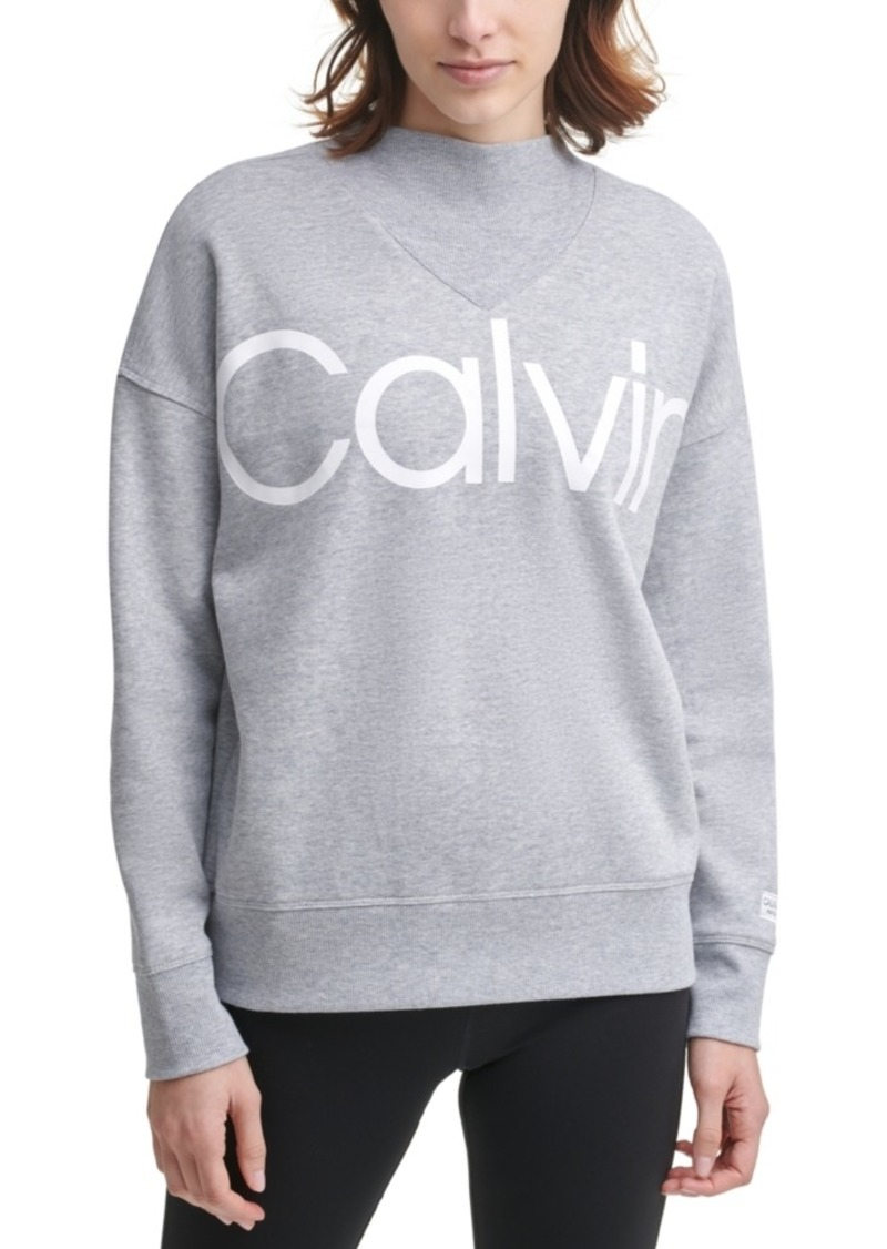 Calvin Klein Performance Logo Mock-Neck Sweatshirt