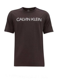 Calvin Klein Performance Logo-print piped-yoke cotton-blend T-shirt