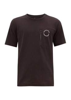Calvin Klein Performance Logo-roundel zipped-pocket cotton-blend T-shirt
