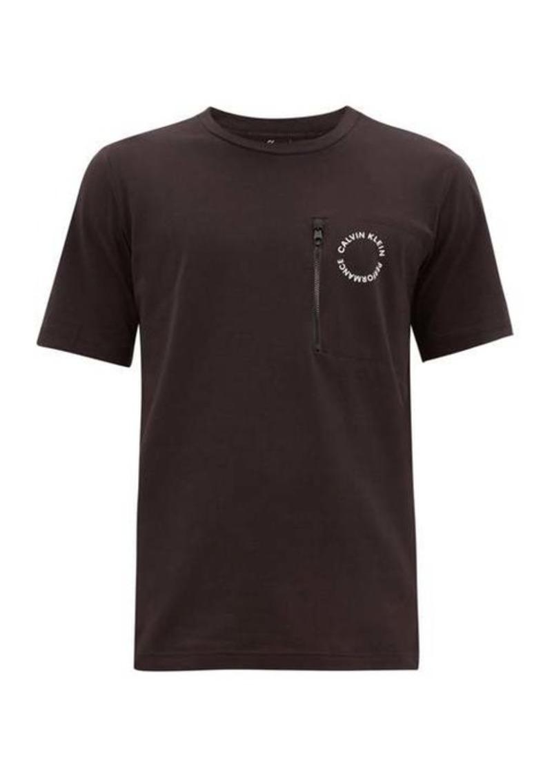 Calvin Klein Performance Logo-roundel zipped-pocket cotton-blend T-shirt