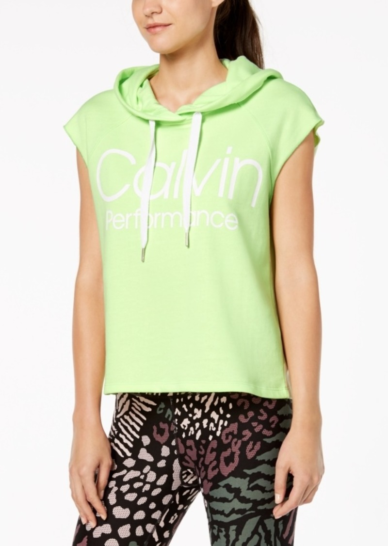 Calvin Klein Performance Logo Sleeveless Cropped Hoodie