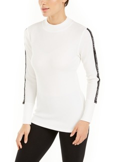 Calvin Klein Performance Logo-Stripe Mock-Neck T-Shirt