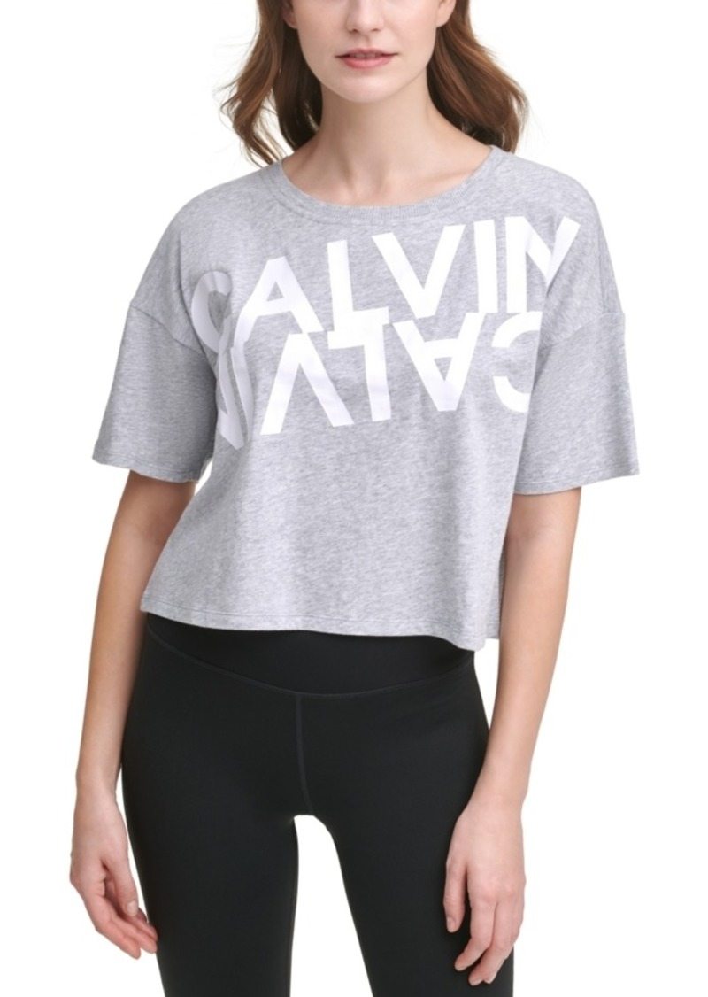 Calvin Klein Performance Mirror Logo Cropped Active T-Shirt