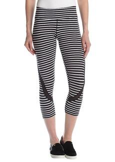Calvin Klein Performance Pacifica Stripe Cropped Mesh Trim Leggings
