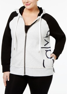 Calvin Klein Performance Plus Size Cotton Colorblocked Logo Hoodie
