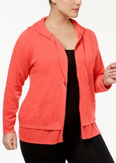 Calvin Klein Performance Plus Size Distressed Fleece Hoodie