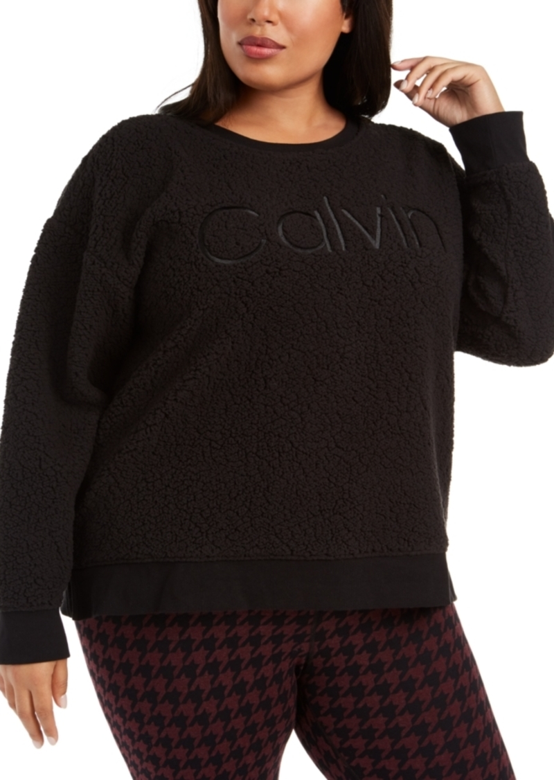 Calvin Klein Performance Plus Size Embroidered Sherpa Sweatshirt
