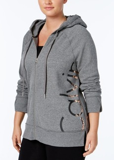 Calvin Klein Performance Plus Size Fleece Metallic Logo Hoodie