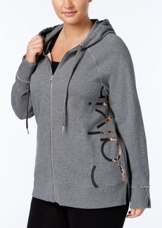 Calvin Klein Performance Plus Size French Terry Metallic Zip Hoodie