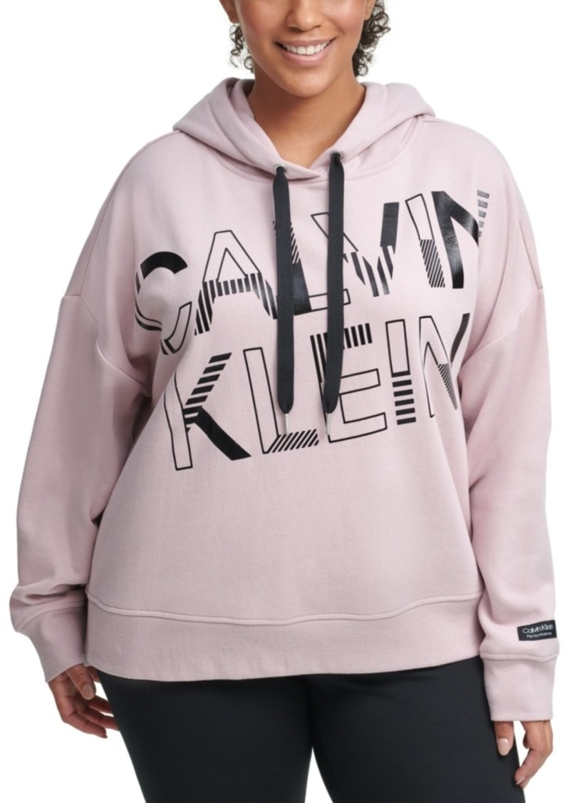 Calvin Klein Performance Plus Size Graphic Hooded Sweatshirt