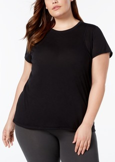 Calvin Klein Performance Plus Size Heathered Pleated-Back T-Shirt