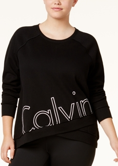 Calvin Klein Performance Plus Size Logo Crossover-Hem Sweatshirt