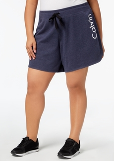 Calvin Klein Performance Plus Size Logo Curved-Hem Shorts