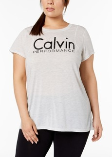Calvin Klein Performance Plus Size Logo Inset Shoulder Seams T-Shirt
