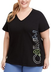 Calvin Klein Performance Plus Size Logo V-Neck T-Shirt