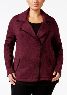 Calvin Klein Performance Plus Size Marled Moto Jacket