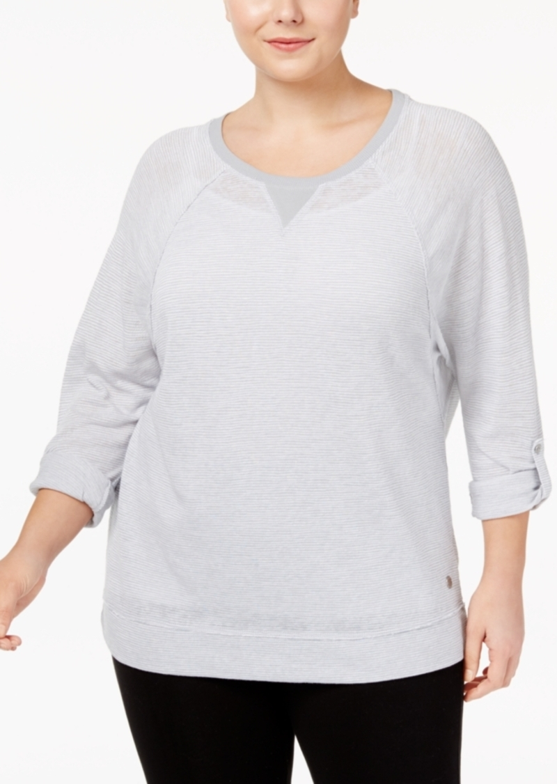 Calvin Klein Performance Plus Size Microstriped Dolman-Sleeve Top
